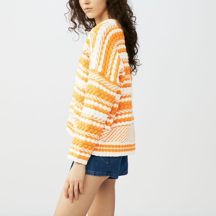 Oversize sweater in bicolor knit : Sweaters color Multi-Coloured