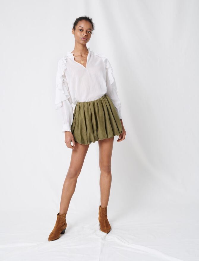 Cool cotton top with ruffles - Tops & T-Shirts - MAJE