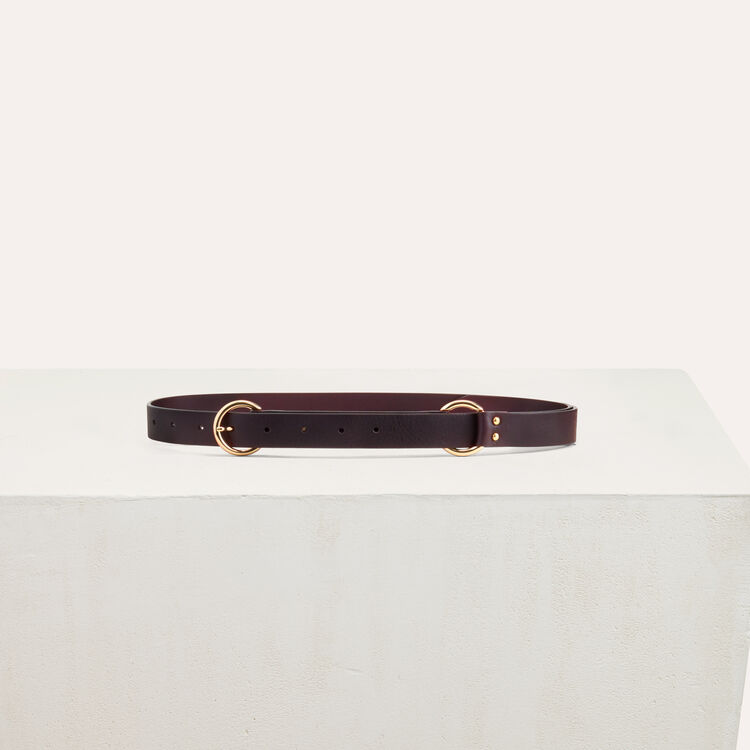 Belt with a mettalic ring : Shoes & Accessories color Burgundy
