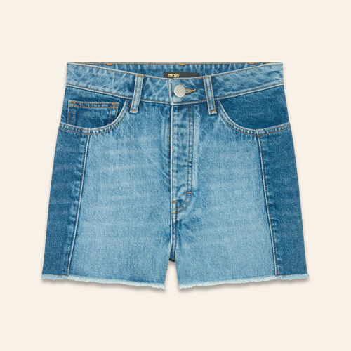 Patchwork-style denim shorts : Skirts & Shorts color Blue