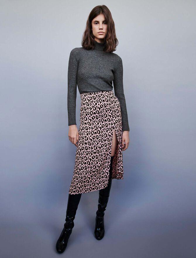 Jacquard-printed split skirt - Skirts & Shorts - MAJE