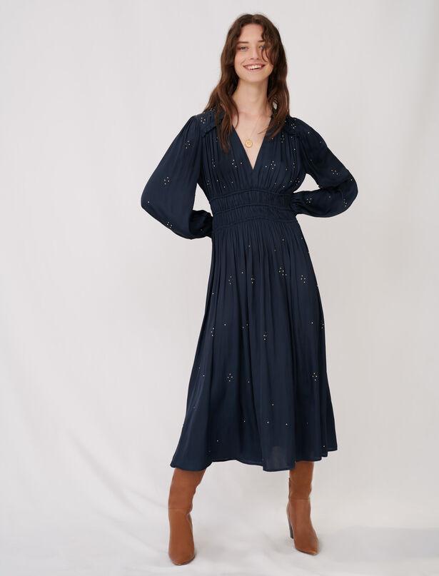 마쥬 MAJE Long parachute dress with rhinestones,Navy