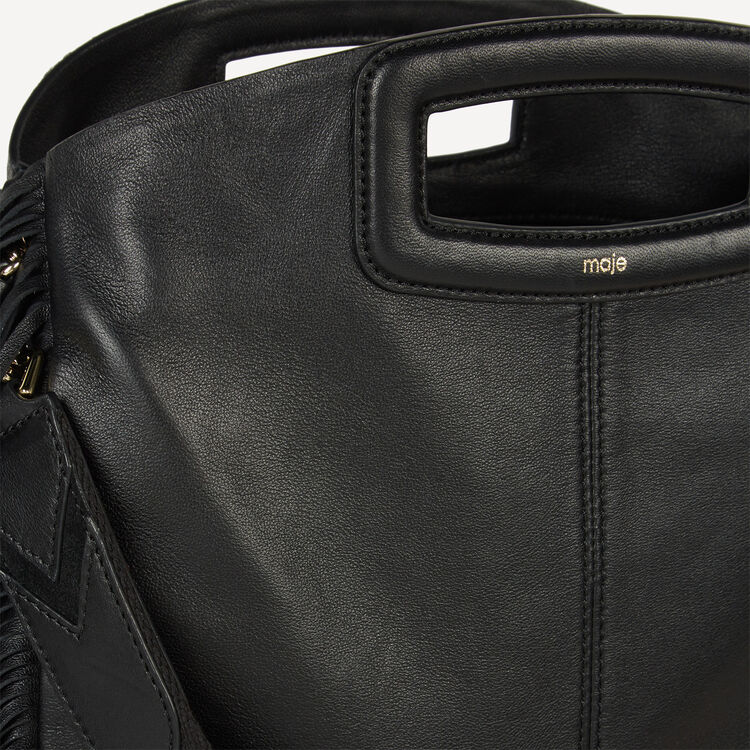 Leather bag with fringing : Destination Style color Black 210