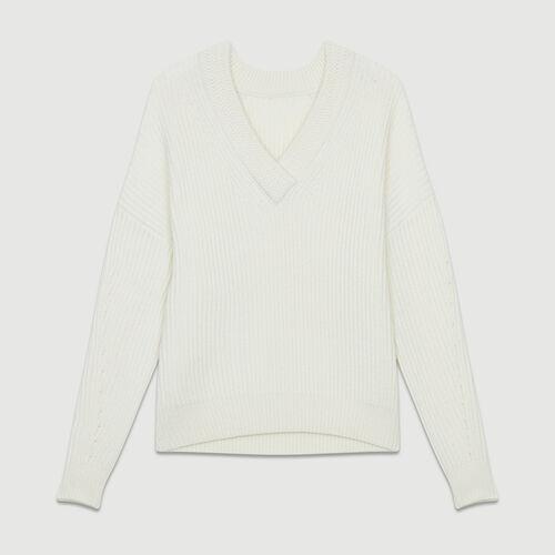 Long-sleeved, V-neck sweater : Fresh Air color ECRU