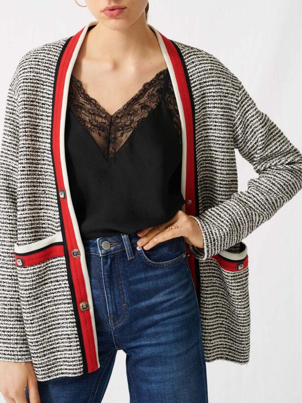 마쥬 220VISALA 스트라이프 트위드 가디건 (박하선 착용) MAJE Tweed-effect cardigan, colourful bands,Ecru / Black