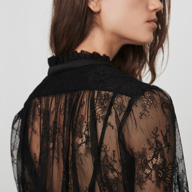 Lace pussy-bow top : 70s belong to Women color Black