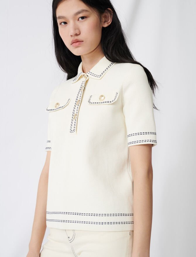 Short-sleeved polo-style sweater - Sweaters - MAJE
