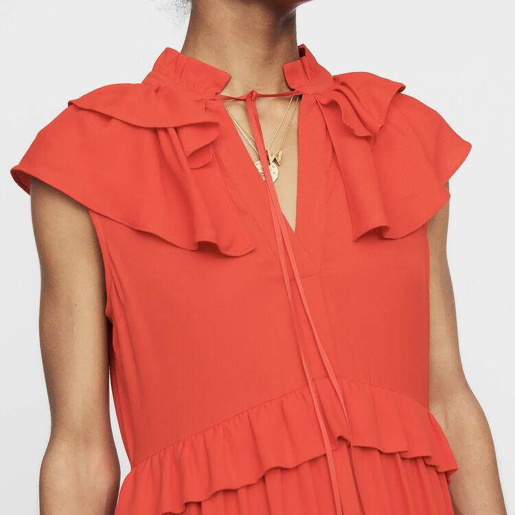 Sleeveless crepe dress : Dresses color ROUGE