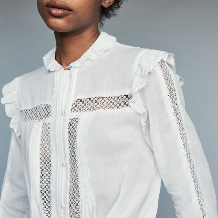 Blouse in cotton voile with lace : Tops & Shirts color White