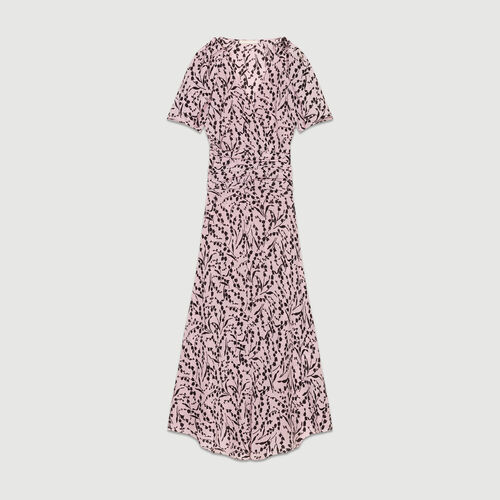 Long printed silk dress : Dresses color PRINTED