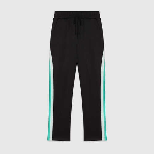 Sport pants with contrasting side bands : Pants & Jeans color BLACK