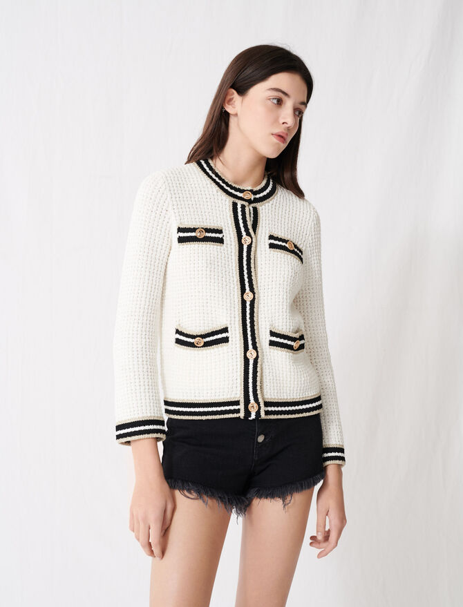 Knit cardigan with contrasting bands -  - MAJE