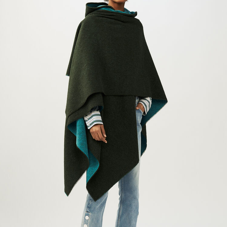 Reversible hooded poncho : Shoes & Accessories color Khaki