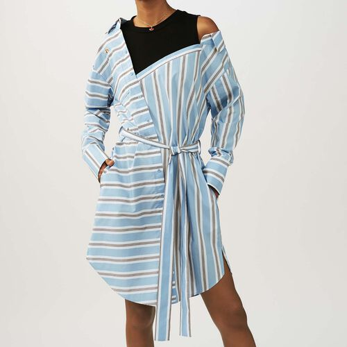 Striped dress with t-shirt plain color : Dresses color Blue Sky