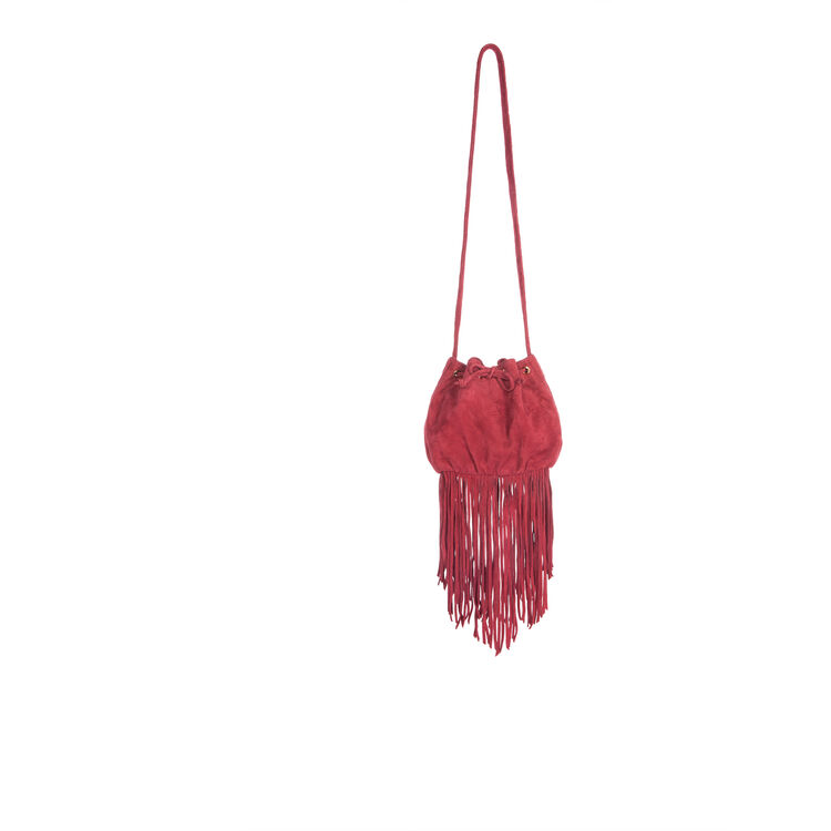 Small suede bucket bag with fringes : null color
