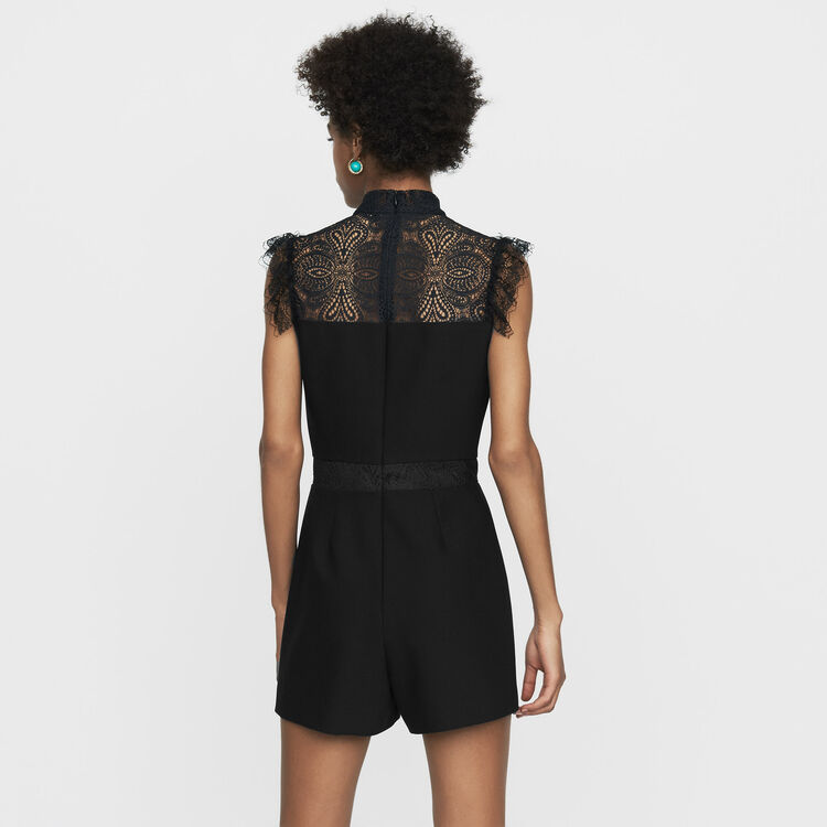 Romper with lace : Jumpsuits & Rompers color Black