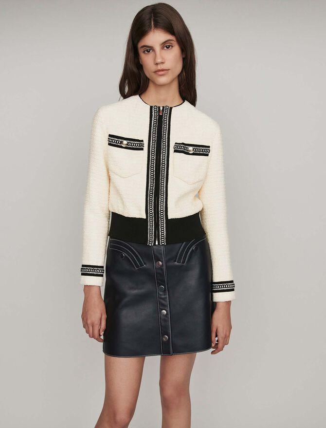 Zipped tweed-style contrast jacket - Coats & Jackets - MAJE