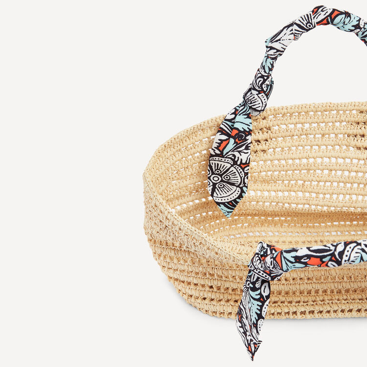 Woven tote with printed scarves : Spring Collection color Natural
