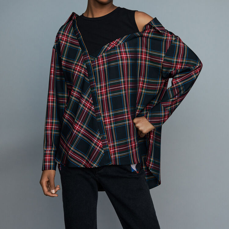 Deconstructured plaid shirt : Tops & T-Shirts color CARREAUX