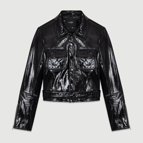 Cropped lambskin leather jacket : Coats & Jackets color Black 210