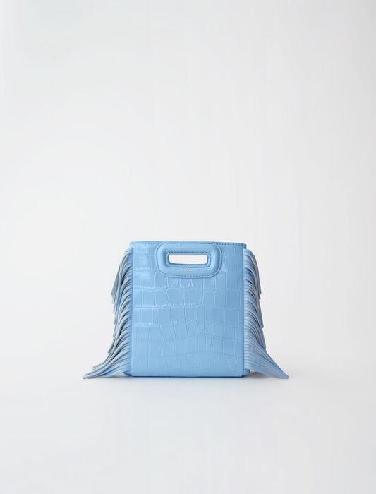 Crocodile-effect leather Mini M bag : Mini Bags color Blue Sky
