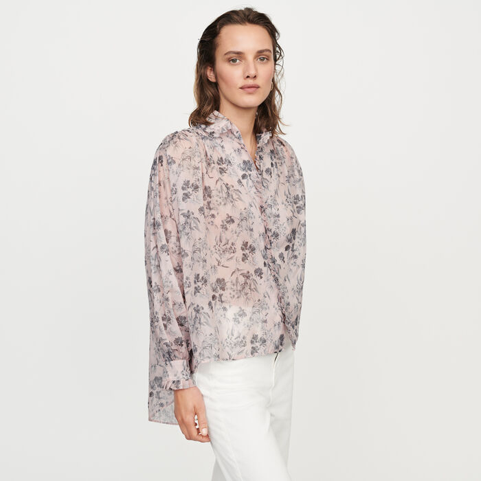 Printed- cotton voile shirt : Tops & T-Shirts color Purple
