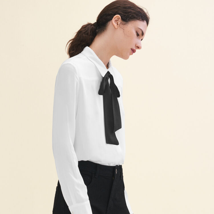 Floaty shirt with pussy bow-style tie : null color