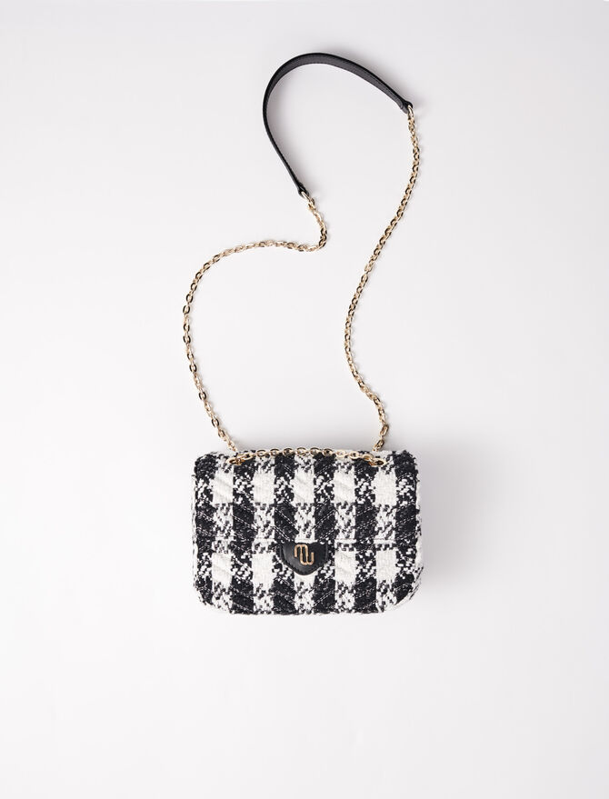 Small bag with contrasting tweed flap -  - MAJE