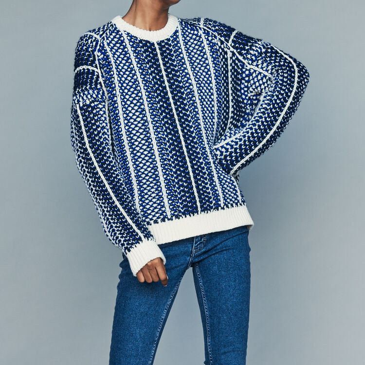 Jacquard knit sweater : Sweaters color Blue