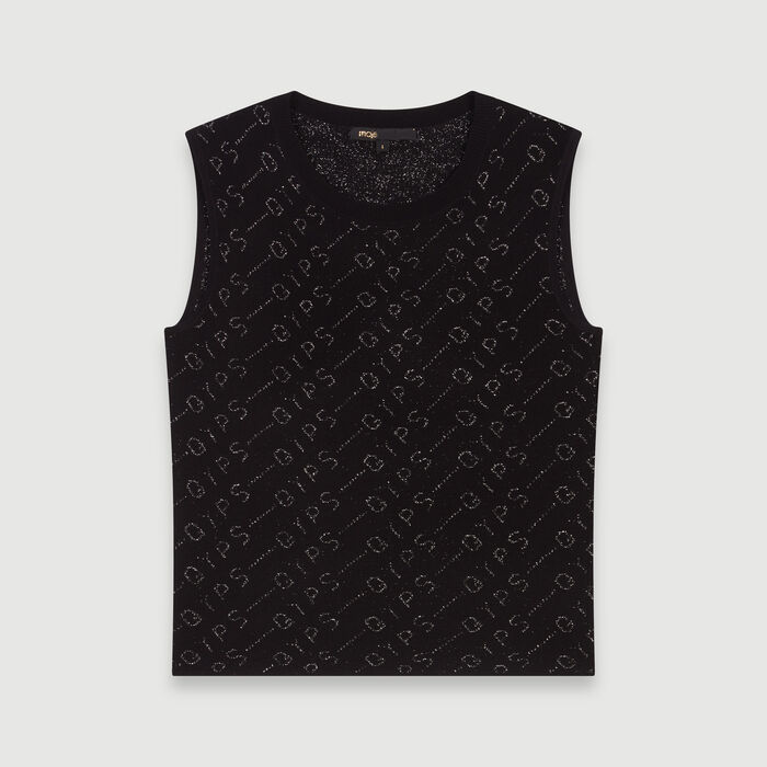 Lurex jacquard sleeveless sweater : Sweaters color Black