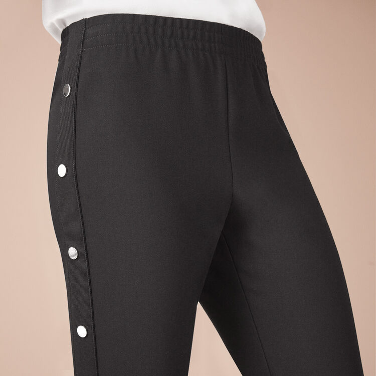 Crêpe trousers with press studs : Pants & Jeans color
