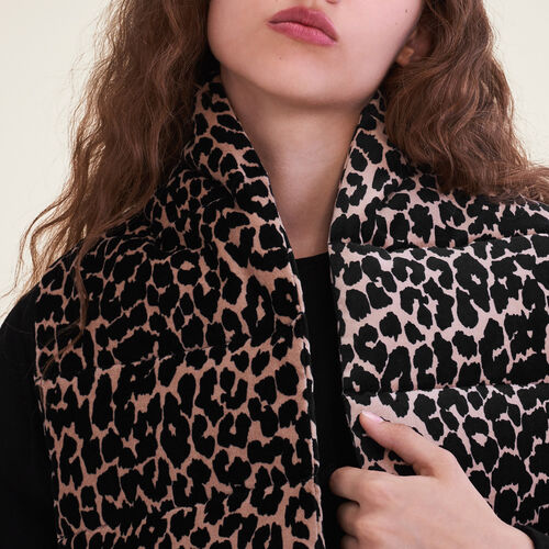 Leopard print quilted scarf - Scarves - MAJE
