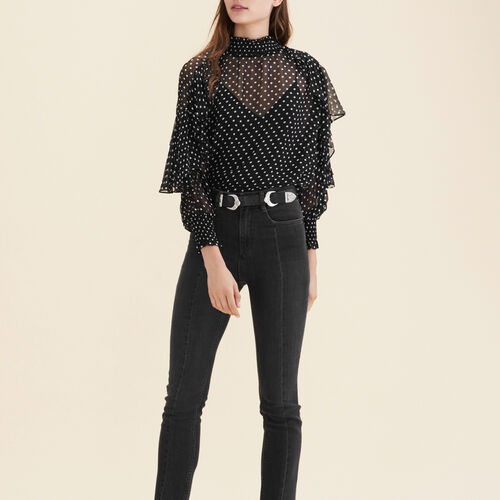 Floaty polka-dot top : Tops & T-Shirts color Black 210