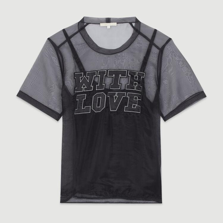 Organza top with slogan : Tops & T-Shirts color Black 210