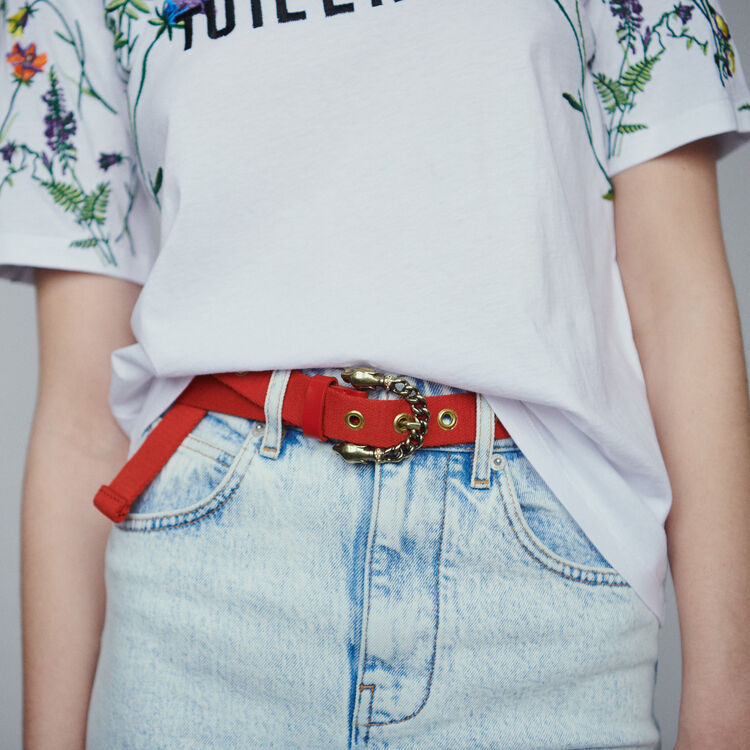 Trouser belt with panther buckle : Belts color Two-Tone