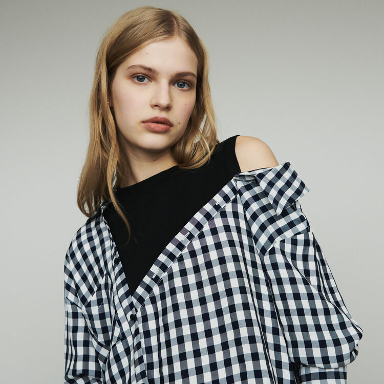 Layered shirt in  gingham : The Essentials color CARREAUX