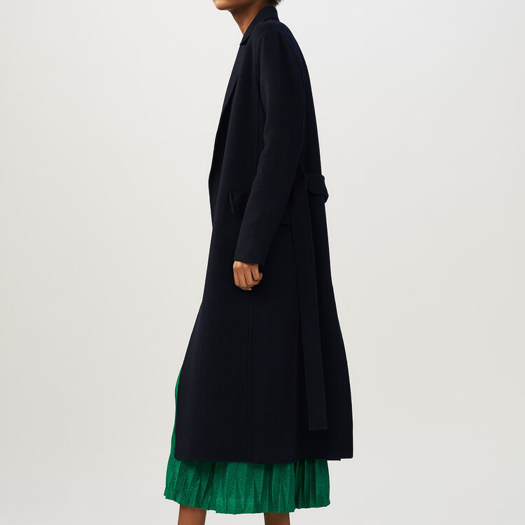 Long double-faced coat : Coats & Jackets color Navy