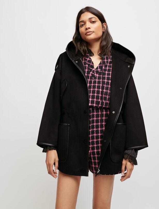마쥬 MAJE Oversized, double face hooded coat,Black