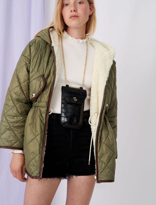 마쥬 에코퍼 양면 자켓 MAJE Down jacket with hood and faux fur,Khaki