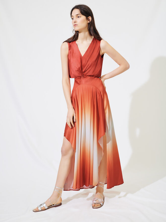 Ombre satin scarf dress - Dresses - MAJE