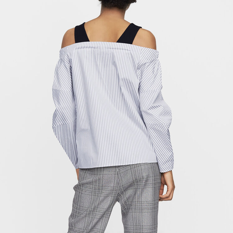 Cold-shoulder striped cotton top : Tops & T-Shirts color Stripe
