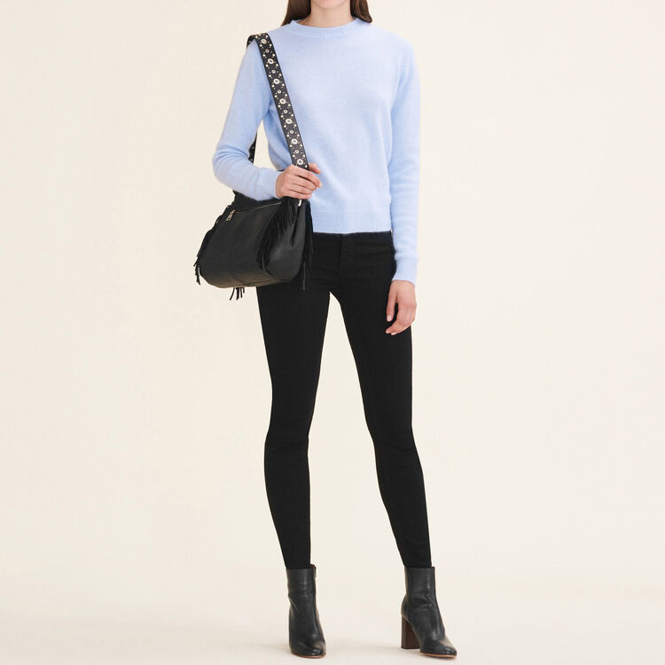 Backless angora jumper : Sweaters color Blue Sky