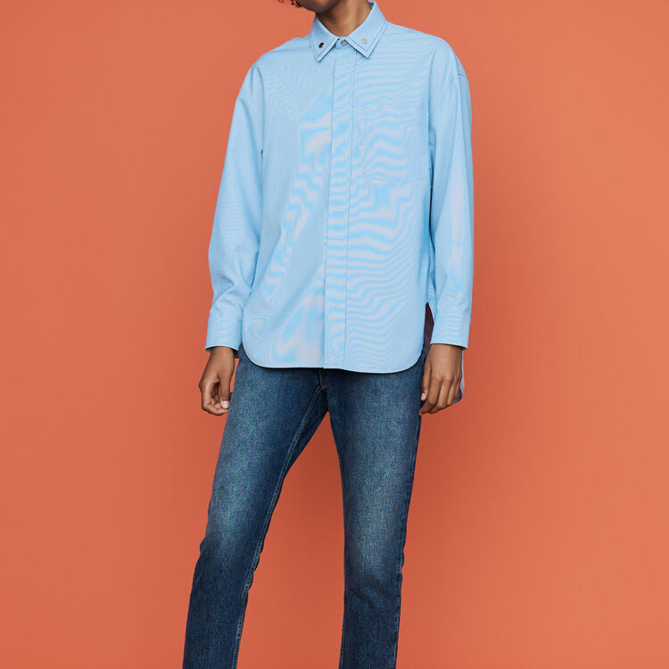 Oversize blouse with double-collar shirt : Tops & Shirts color Blue Sky