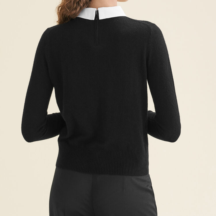 Jersey con cuello camisero y strass : Sweaters color Black 210