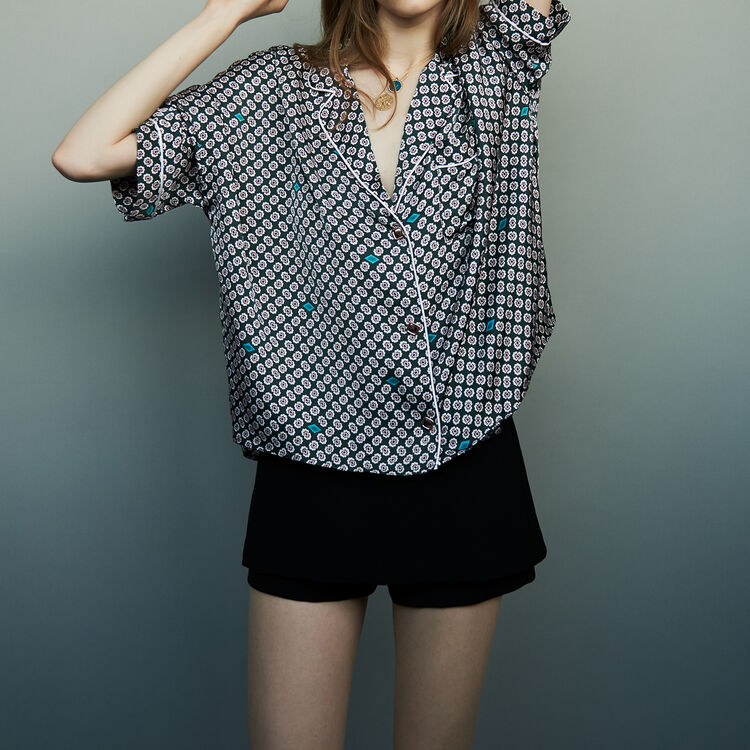 Printed satin shirt : Tops & Shirts color PRINTED