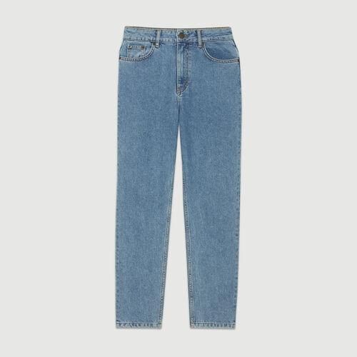 Wide jeans in distressed denim : Pants & Jeans color Denim