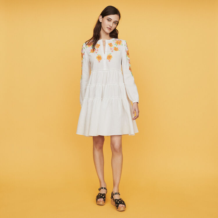 19aa4c0c Dresses true Dress in linen with embroidery : Dresses color White
