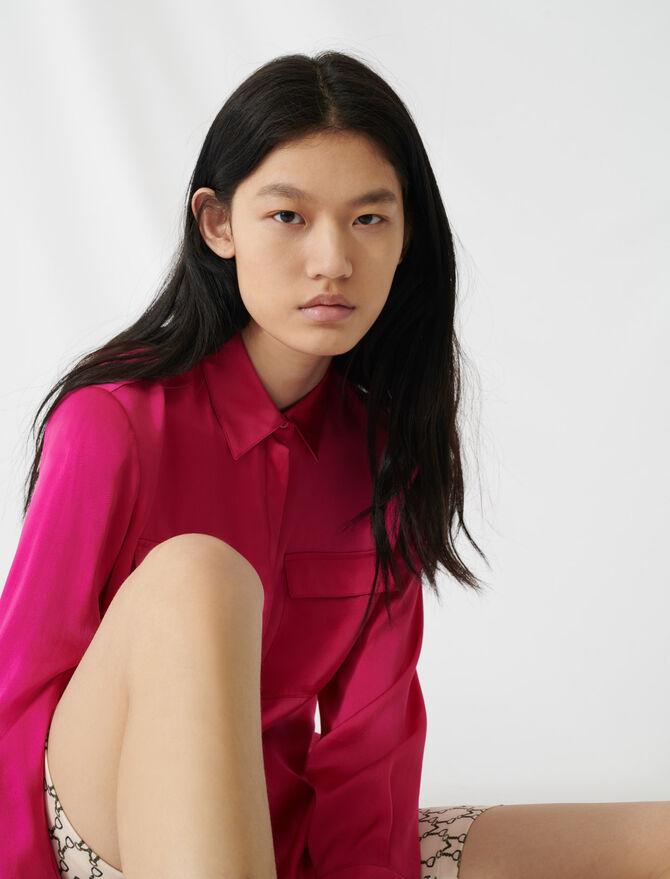 Fuchsia silk satin shirt - Tops & T-Shirts - MAJE