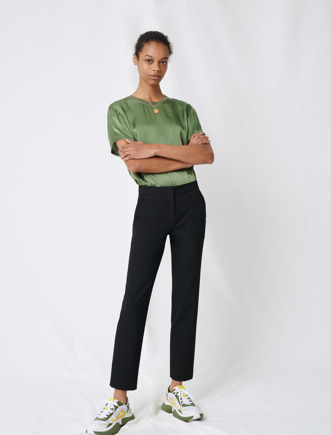 Stretch twill tailored trousers - Pants & Jeans - MAJE