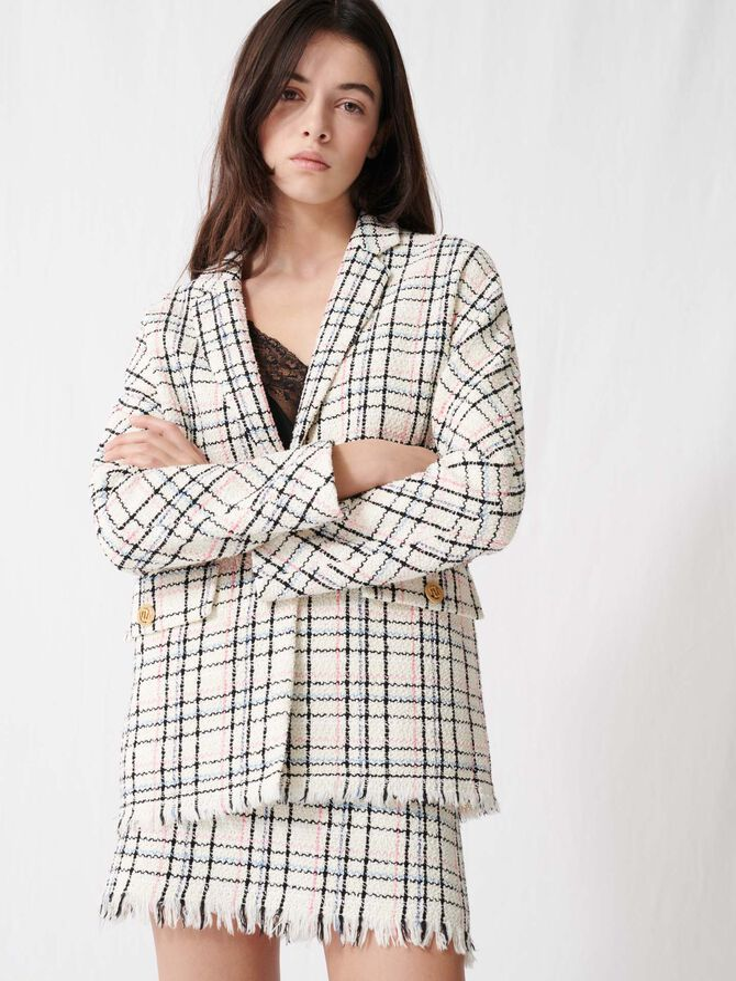 Checked tweed-style jacket - Coats & Jackets - MAJE